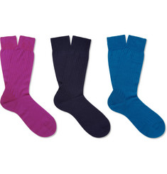Pantherella Laburnum Three-Pack Merino Wool-Blend Socks