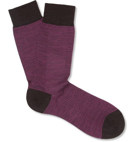 Richard James Striped Wool and Cotton-Blend Socks