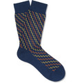 Richard James Zig-Zag Patterned Merino Wool-Blend Socks