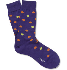 Richard James Polka Dot Merino Wool and Cotton-Blend Socks