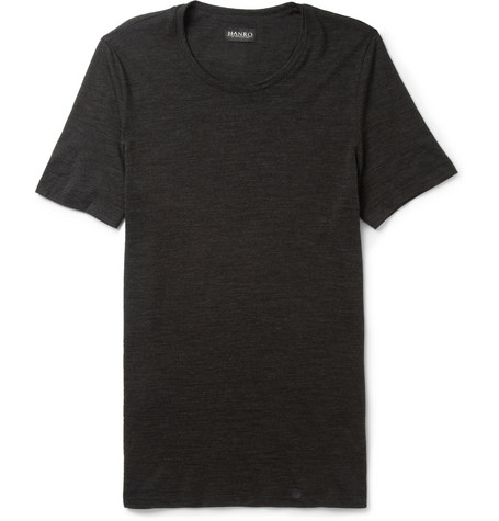 Hanro Fine Merino Wool and Silk-Blend T-Shirt
