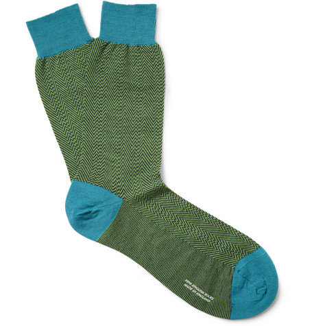Richard James Herringbone Merino Wool-Blend Socks