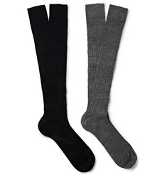 Bresciani Two-Pack Knee-Length Wool-Blend Socks