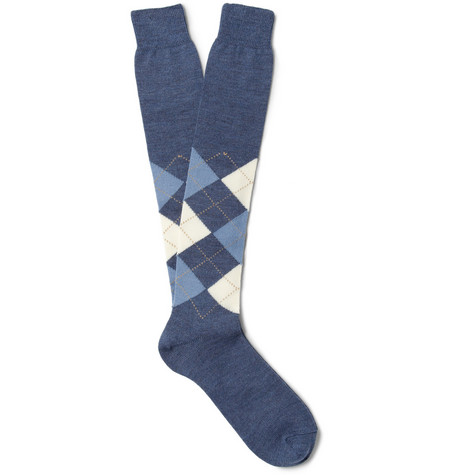 Bresciani Knee-Length Argyle Wool-Blend Socks
