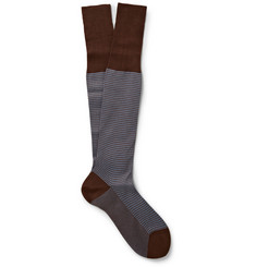 Bresciani Houndstooth Check Knee-Length Cotton Socks