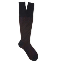 Bresciani Dotted Knee-Length Fine-Cotton Socks