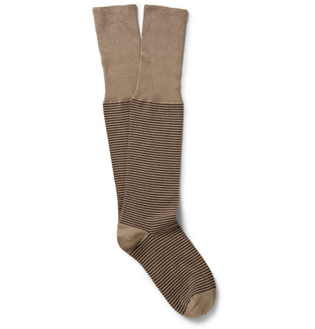Bresciani Striped Knee-Length Cotton-Blend Socks