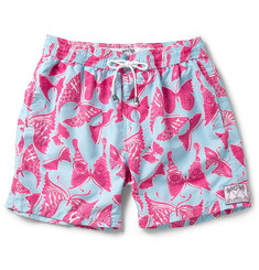 Pink House Mustique Mid-Length Butterfly-Print Swim Shorts