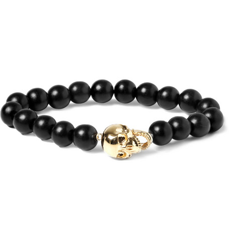 Luis Morais Yellow Gold Skull and Ebony Bead Bracelet