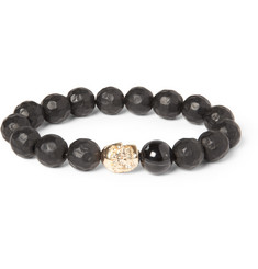 Luis Morais Ebony and Gold Skull Bead Bracelet