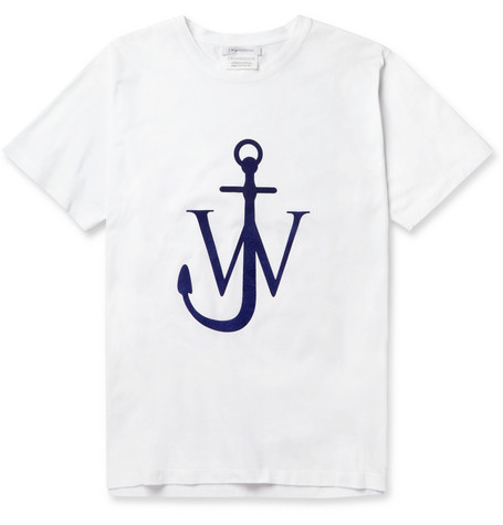 London Collections. Men J.W.Anderson Flocked Cotton-Jersey T-Shirt