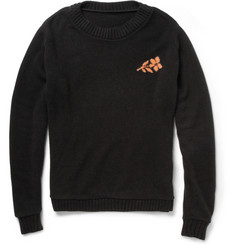 The Elder Statesman Flower-Intarsia Cashmere Sweater