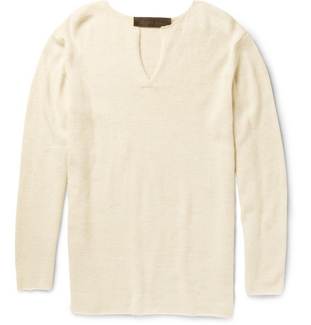 The Elder Statesman Slub Cashmere Henley Sweater