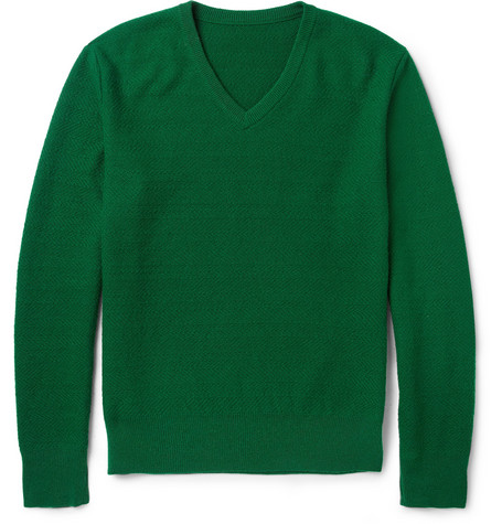 The Elder Statesman Patterned Cotton and Cashmere-Blend V-Neck Sweater