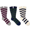 Beams Plus Three-Pack Striped Cotton-Blend Socks