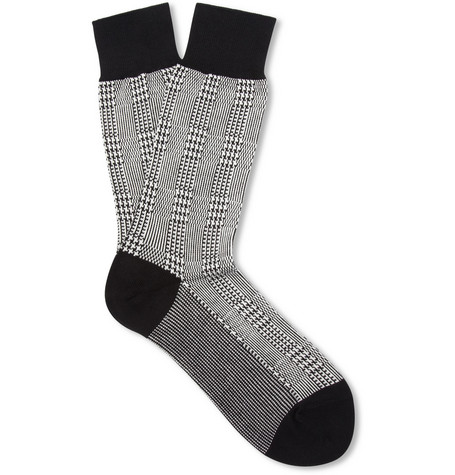 Beams Plus Prince Of Wales Check Cotton-Blend Socks