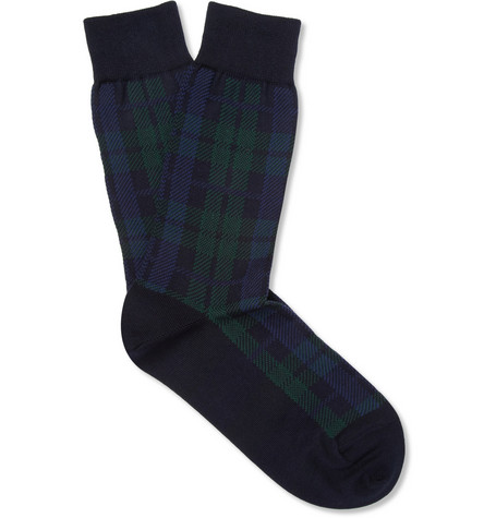 Beams Plus Check Cotton-Blend Socks