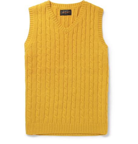 Beams Plus Cable-Knit Merino Wool Vest