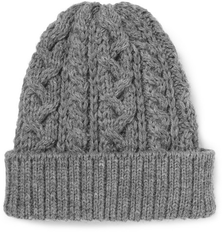 Beams Plus Cable-Knit Wool Beanie Hat