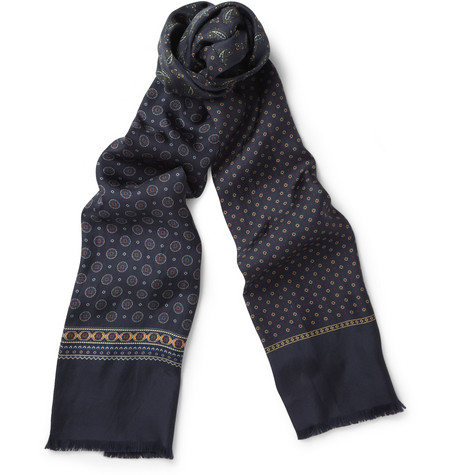 Beams Plus Patterned Silk Scarf