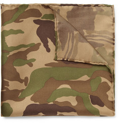 Beams Plus Camouflage-Print Silk-Twill Pocket Square