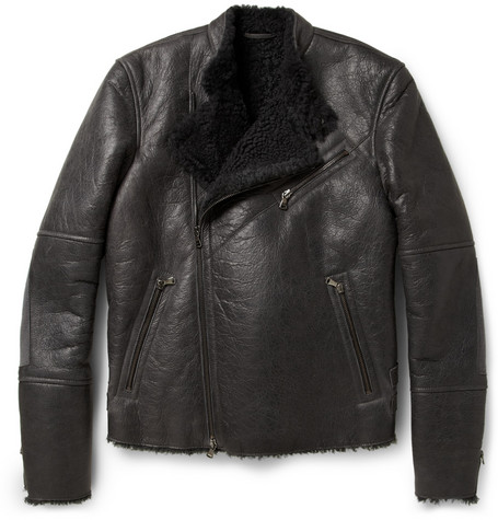 Lot78 Shearling-Lined Leather Biker Jacket