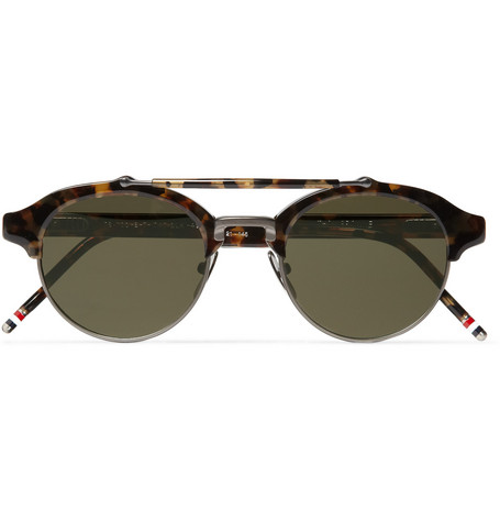 Thom Browne Round-Frame Metal and Acetate Sunglasses