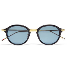 Thom Browne 18-Karat Gold and Acetate Round-Frame Sunglasses