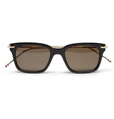 Thom Browne 12-Karat Gold and Acetate Square-Frame Sunglasses