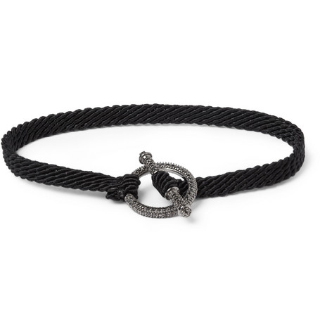 Yuvi Black Diamond, Silver and Woven Cord Bracelet