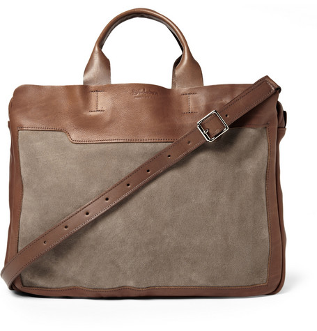 Bill Amberg Explorer Leather and Suede Briefcase