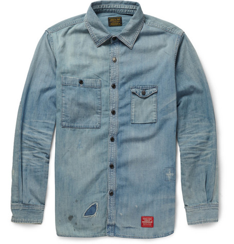 Neighborhood Distressed Washed-Denim Shirt