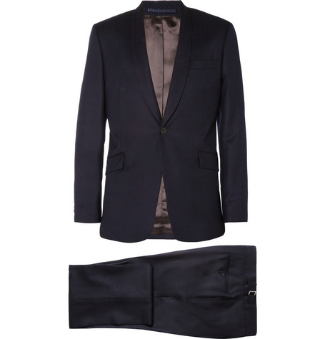 Spencer Hart Navy Shawl-Collar Wool-Flannel Suit