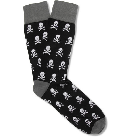 Corgi Skull-Patterned Cotton-Blend Socks
