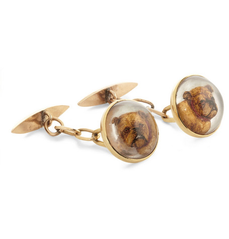 Foundwell 18-karat Gold and Essex Crystal Bulldog Cufflinks