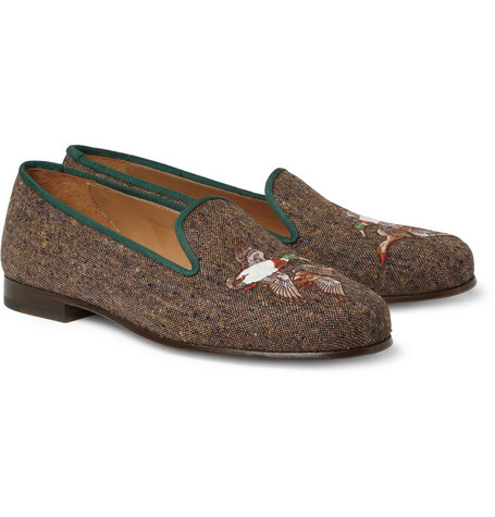 Stubbs & Wootton Embroidered Tweed Slippers