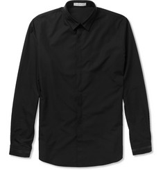 Sandro Slim-Fit Leather-Trimmed Cotton Shirt