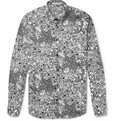 Sandro Slim-Fit Marble-Print Cotton Shirt