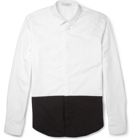 Sandro Slim-Fit Two-Tone Cotton Shirt
