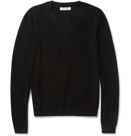 Sandro Fine-Knit Merino Wool V-Neck Sweater