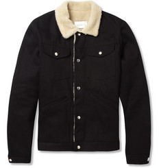 Sandro Shearling-Effect Trimmed Denim Bomber Jacket