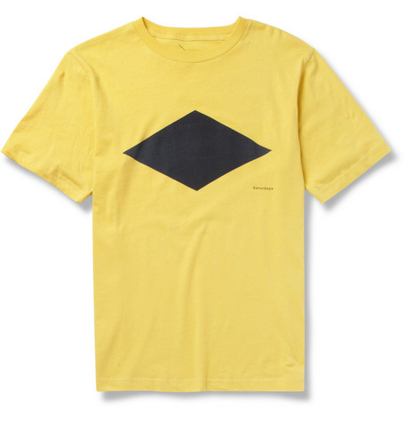 Saturdays Surf NYC Diamond-Print Cotton-Jersey T-Shirt