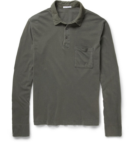 James Perse Sanded Cotton-Jersey Polo Shirt