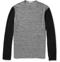 James Perse Two-Tone Long-Sleeved Cotton-Jersey T-Shirt