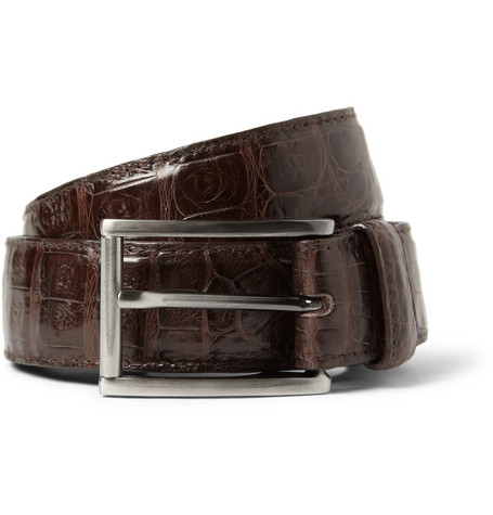 Santiago Gonzalez Brown 3cm Crocodile Belt
