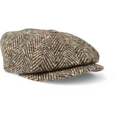 Lock & Co Hatters Muirfield Flecked Herringbone Wool Flat Cap