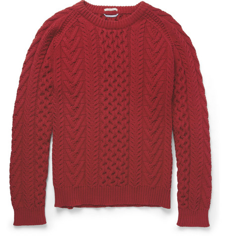 Gant Rugger Cable-Knit Cotton-Blend Sweater