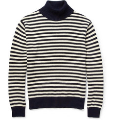 Gant Rugger Striped Knitted Cotton Rollneck Sweater