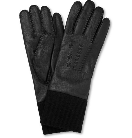 Merola Gloves Cashmere-Lined and Cuffed Leather Gloves