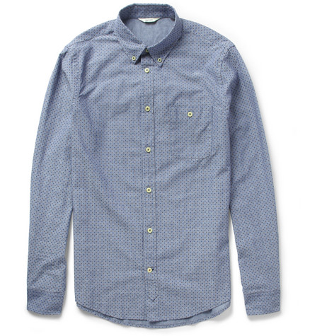 NN.07 Derek Dot-Print Cotton Oxford Shirt